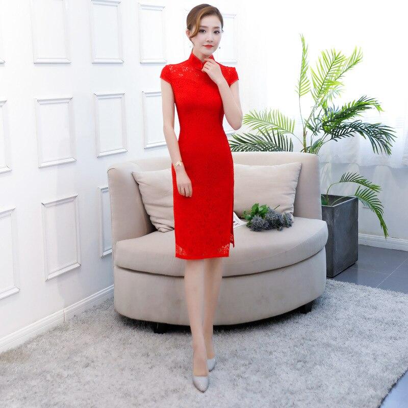 Red Lace Sexy Qipao Female Mandarin Collar Slim Vestidos High Split Cheongsam Chinese Bride Dresses Wedding Gift Plus Size 3XL