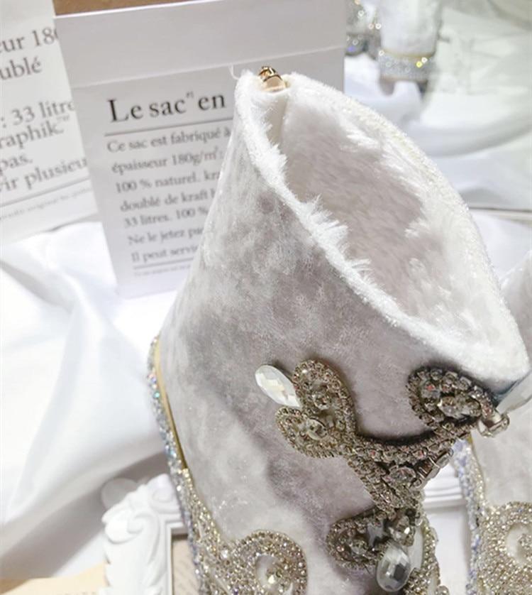 Nieve Invierno Tobillo Niñas Para Botas Mujer Heel Imitación Zapatos Blancas Flock De Diamantes Cuentas Cristal Flores 5cm Con Embarazadas Mujeres 06q1T6w