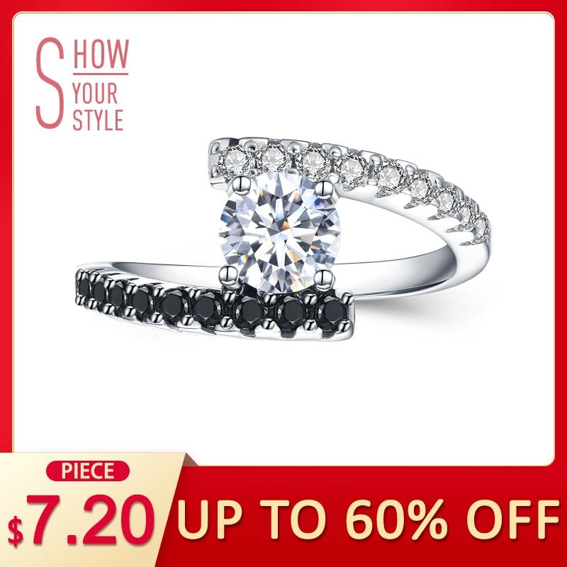 [CZARNY AWN] Vintage 2.9g 925 Srebro Pierścionki Fine Jewelry Czarny Spinel Obrączki dla Kobiet Femme Bijoux Bague C011