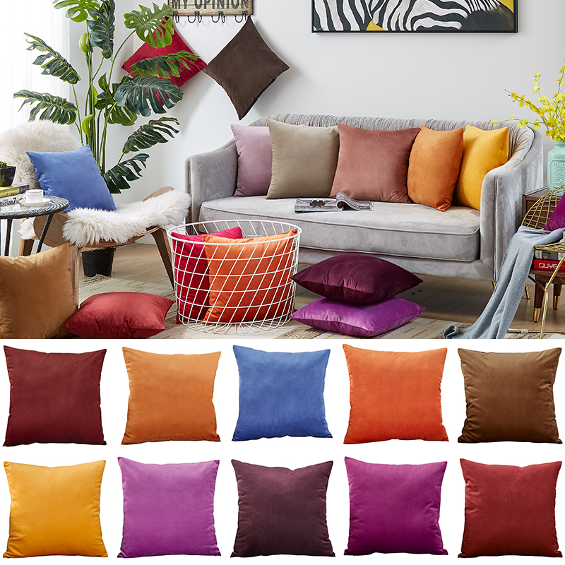Velvet Pillow Case 45*45 Pillowcase 30x50cm Pillow Cover Bedroom Living Room Decorative Poszewki Na Poduszki Nordic Home Solid