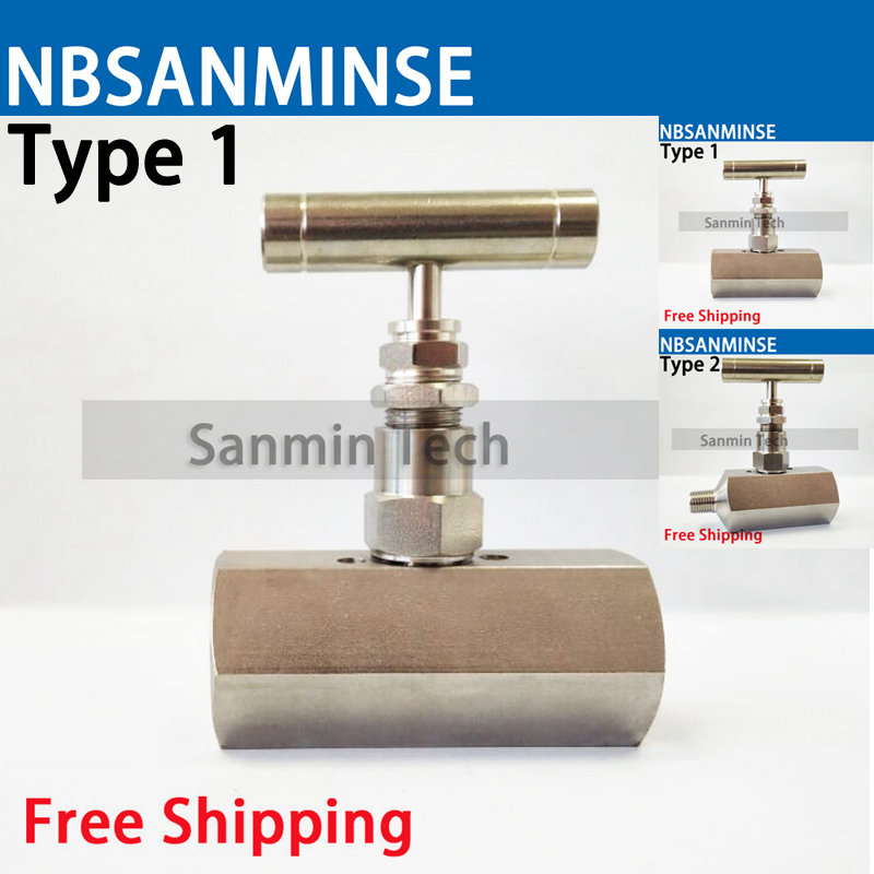 SPNV 1/2 3/4 (F x F) (M x F) Female Type Stainless Steel Needle Valve High Quality 6000 Psi Pressure NPT Inline Type Sanmin female to female f f 1 2 pt threaded yellow lever handle brass ball valve