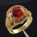 Vintage Big Round Red Lab Garnet Clear CZ Yellow Gold Filled Ring for Men Women Middle East Size 9-11