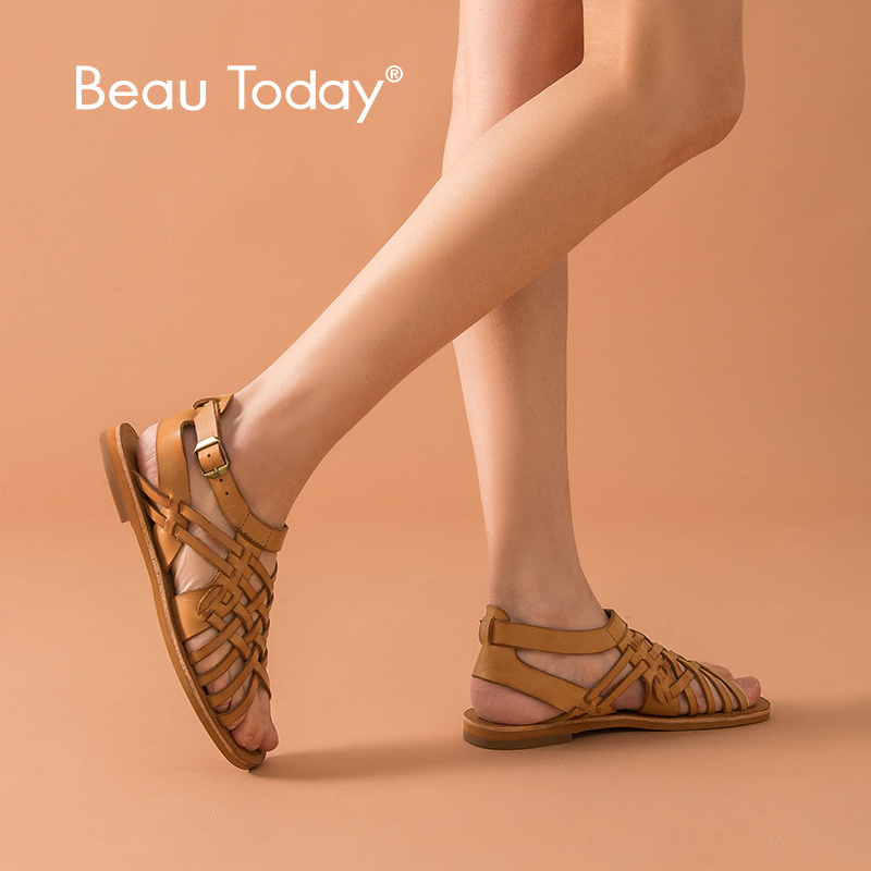 BeauToday Flat Sandals Women Cow Leather Gladiator Buckle Closure Top Brand Ladies Hollow Summer Shoes Handmade