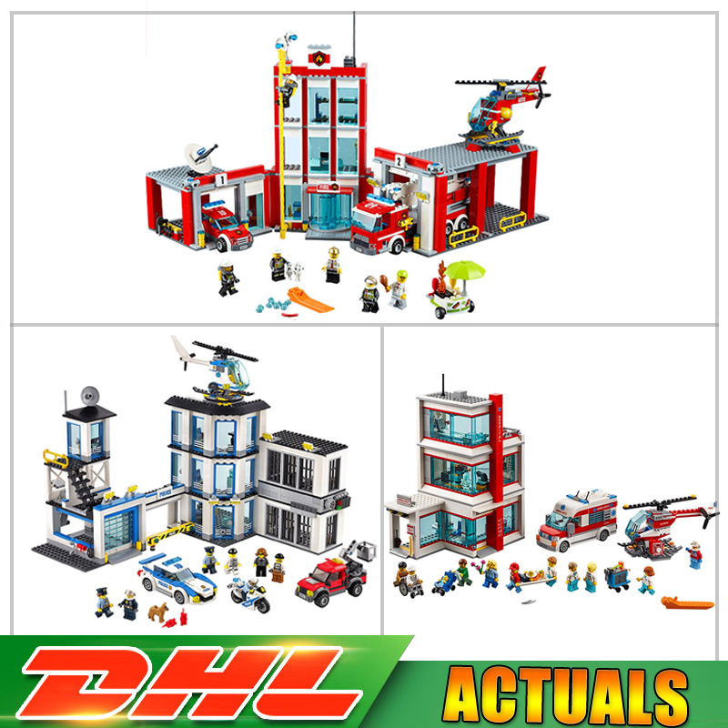 Lepin City 02020 Police Station+ 02052 Fire Station +02113 Hospital Education Building Blocks Bricks Model Toys Christmas Gifts spell insert building blocks fire model plastic environmental protection construction science and education children s education
