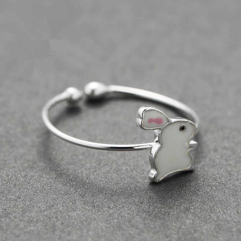 Креативный 925 стерлингового серебра кролик с морковкой кольца для женщин свадебное кольцо кольца