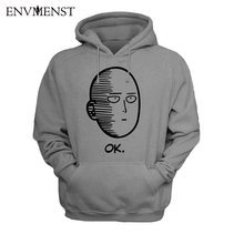 One Punch Man Hoodies Anime ONE Oppai Hoodies ONE PUNCH-MAN re-make Fleece Jacket Harajuku Sweatshirt US size XL
