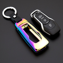 Zinc Alloy Leather Car Key Cover Case Shell Bag For Ford Focus Mondeo Edge Fiesta Kuga Escort Ecosport Fusion LINCOLN Explorer