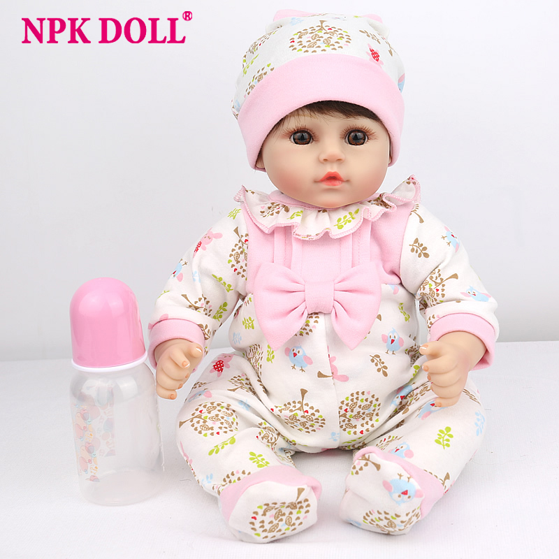 NPKDOLL 45cm Silicone Reborn Baby Doll kids Playmate Gift For Girls 16 Inch Baby Alive Soft Toys For Bebe Reborn Chicken Toys-in Dolls from Toys & Hobbies    1