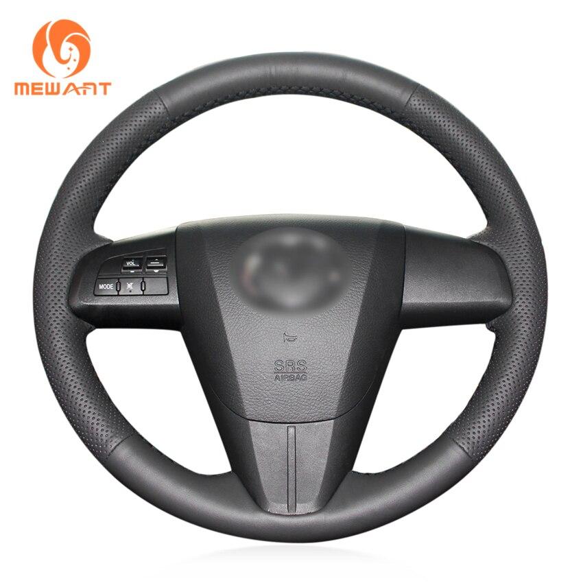 MEWANT Black Artificial Leather Car Steering Wheel Cover for Mazda 3 Axela 2010 2013 Mazda 5 Mazda 6 CX 7 CX 9 MAZDASPEED3 (US)
