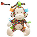 Sozzy 0M+ New Baby Plush Toys Colorful Monkey Crib Bed Hanging Ring Bell Toy Soft Infant Baby Rattle Early Educational Doll