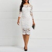 Вечернее платье для свиданий для женщин, белое, прозрачное, открытое, цветочное, кружевное, облегающее платье, офисные женские весенне-летни...