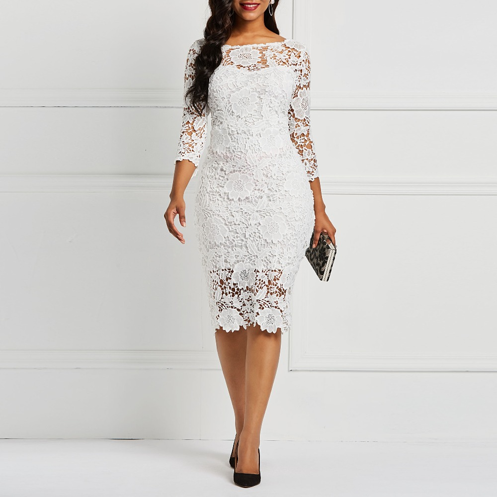 Evening Party Date Women White See Through Hollow Out Floral Lace Bodycon Dress Office Lady Spring Summer Work Basic Dresses