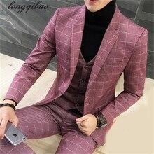 Новые мужские модные повседневные Комплекты/мужская деловая повседневная сплошной цвет одной кнопки костюм куртка блейзеры комплекты + Штаны + жилет