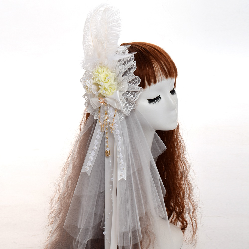 Lolita Girls White Flower Feather with Veil Beading Chain Pendant Hair Clip Vintage Bride Headwear