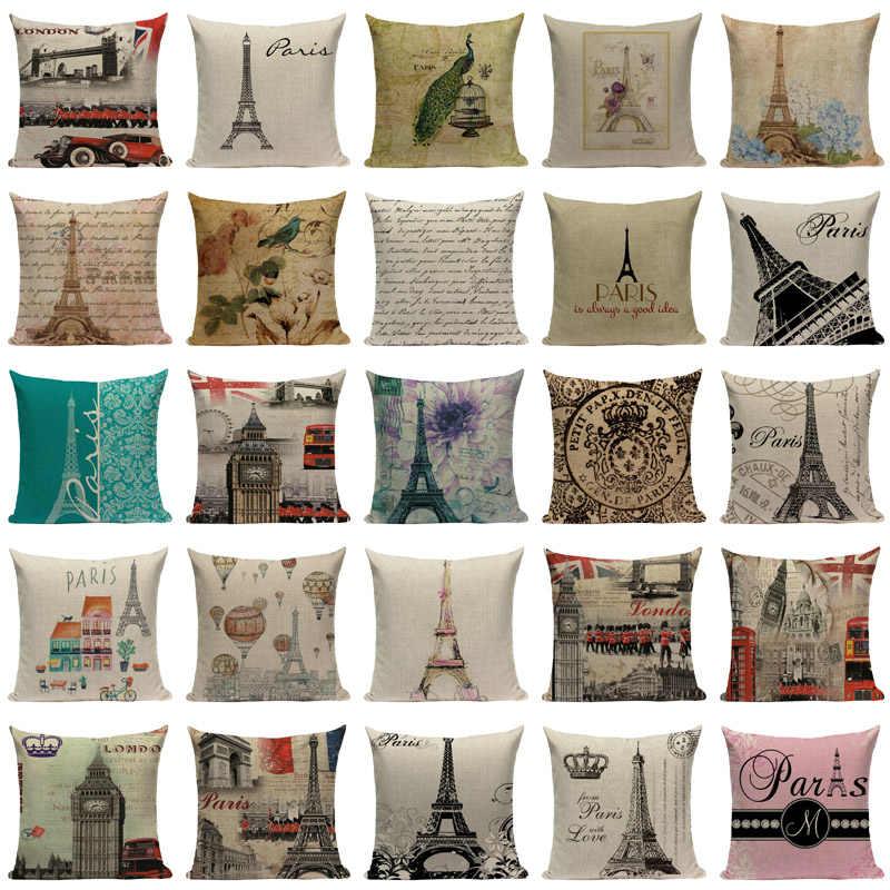 London Dekoratif Dicetak Bantal Rumah Bantal Mencakup Jembatan London Paris Menara Eiffel Bantal Dropshipping Bantal