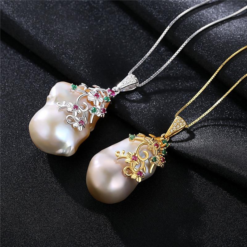 Spécial En Forme de Baroque Grand Naturel pendentif en perles Colliers Femmes 925 Sterling Argent nouvelle mode collier - 2