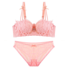 2019 new lingerie set sexy lace underwear push up bra and panty set see through bra pink lenceria mujer sweet bra  Teenage girl see through lace lingerie set