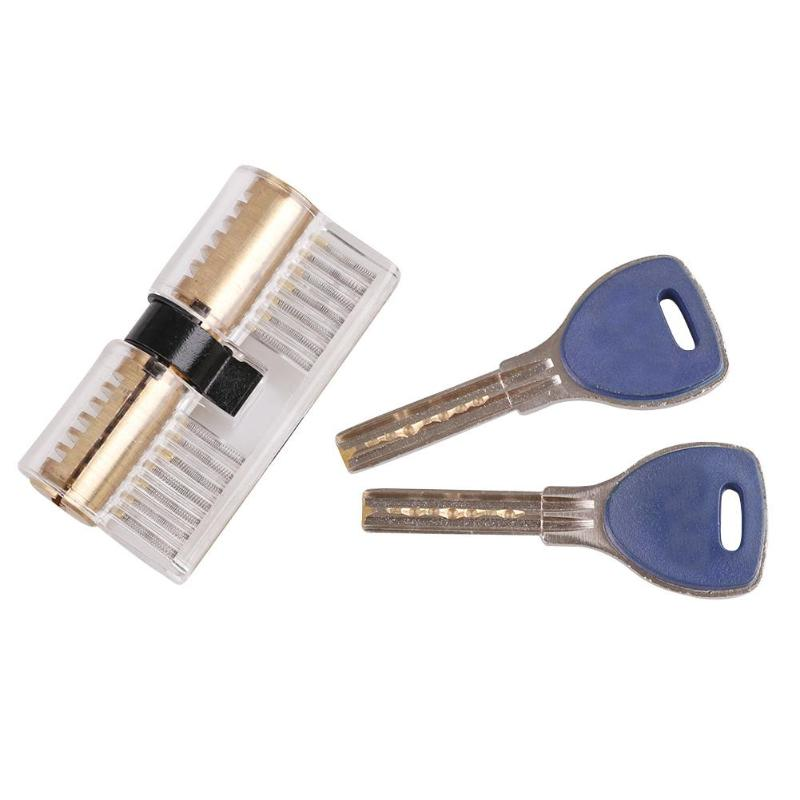 Acrylic Transparent Visible Lock Pick Cutaway Padlock with 2 Keys Locksmith Practice Skill Training Tools Kits цена