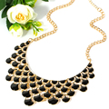 Colorful Bohemia Chic Vintage Gold Plated Chain Choker Necklace Acrylic Beads Women Big Necklace&Pendants 2016 Maxi Accessories