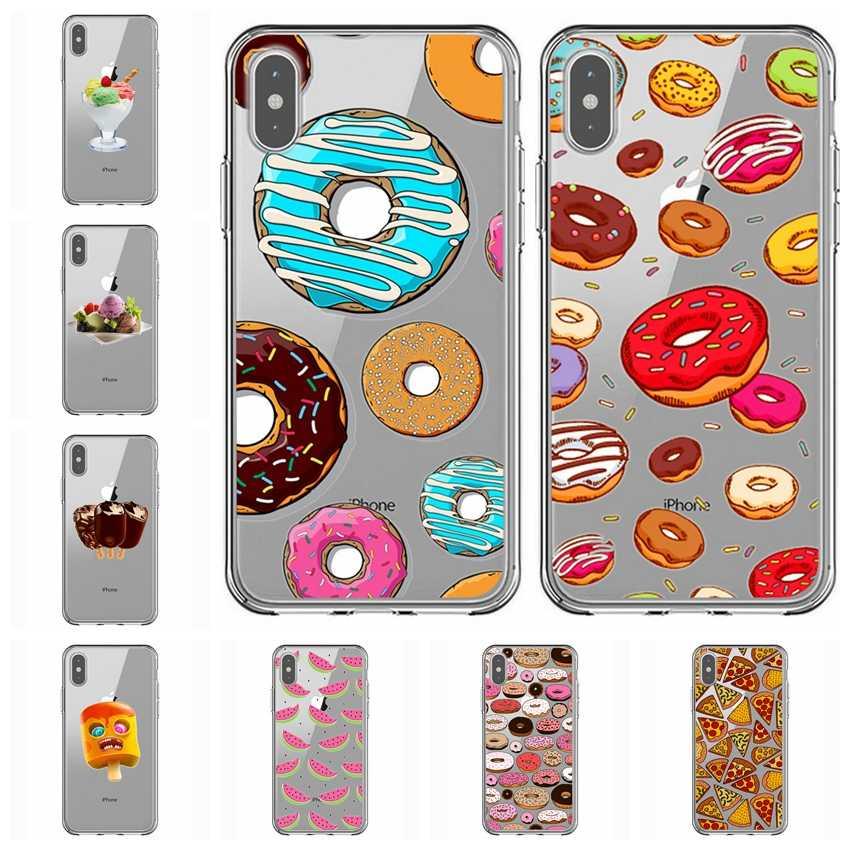 かわいいドーナツフライ前みんな心ユニコーンピザソフトクリア電話ケース iphone 7 × 7 プラス 6 6S 8 8 プラス x XR XS 最大ケース Y636