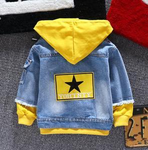 Image 4 - Boy girl Denim Jackets kids jeans coat Children splice Outerwear clothing Spring Autumn boy hooded sport Clothes For 1 6T kids
