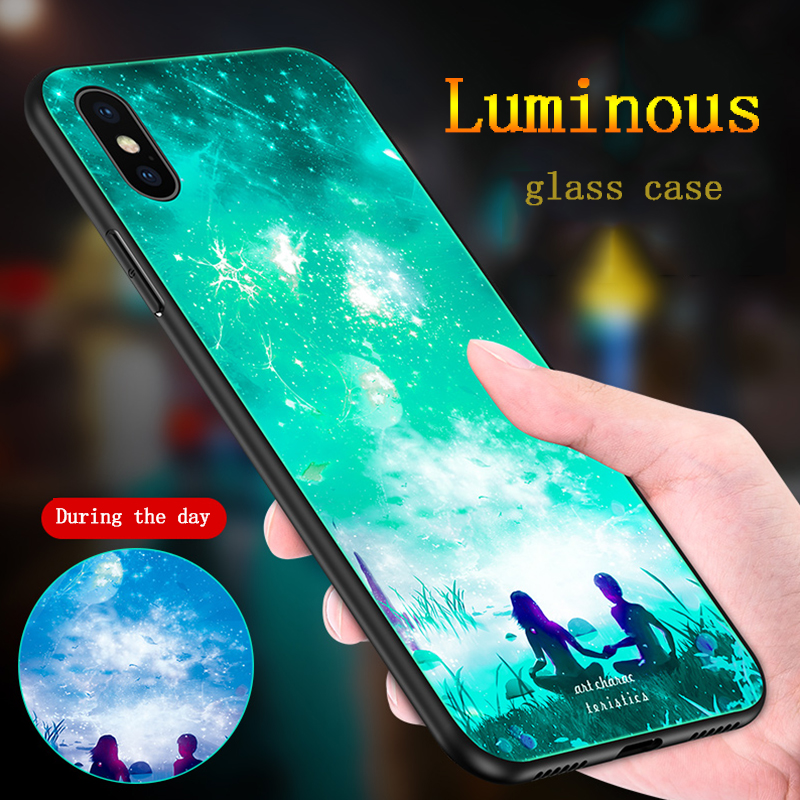 New style Luminous Glass Case For Iphone X Xs Max 6S 7 8 Plus Case Back Cover For iPhone XR 6 7 8 Fluorescent case Phone Case in Fitted Cases from Cellphones Telecommunications