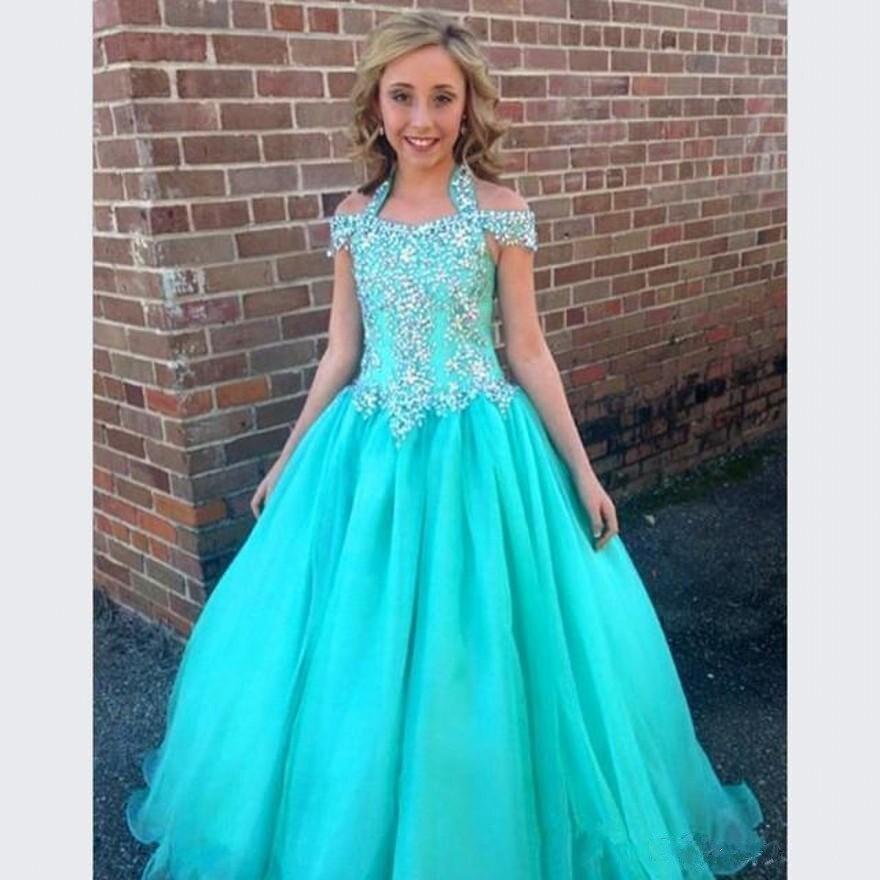 Halter Pageant Gowns For Girls Teens Beadeds Flower Girl Dresses For ...