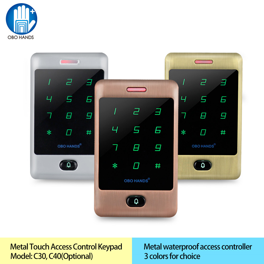 OBO HANDS Waterproof 125khz RFID Keypad access control system digital keyboard door lock controller metal touch rfid card reader waterproof touch keypad card reader for rfid access control system card reader with wg26 for home security f1688a