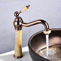 Basin Faucet Rose gold Jade Bathroom Sink Faucet Hot And Cold Basin Jade Taps Golden Faucet Marble Stone Gold Brass Made mixer