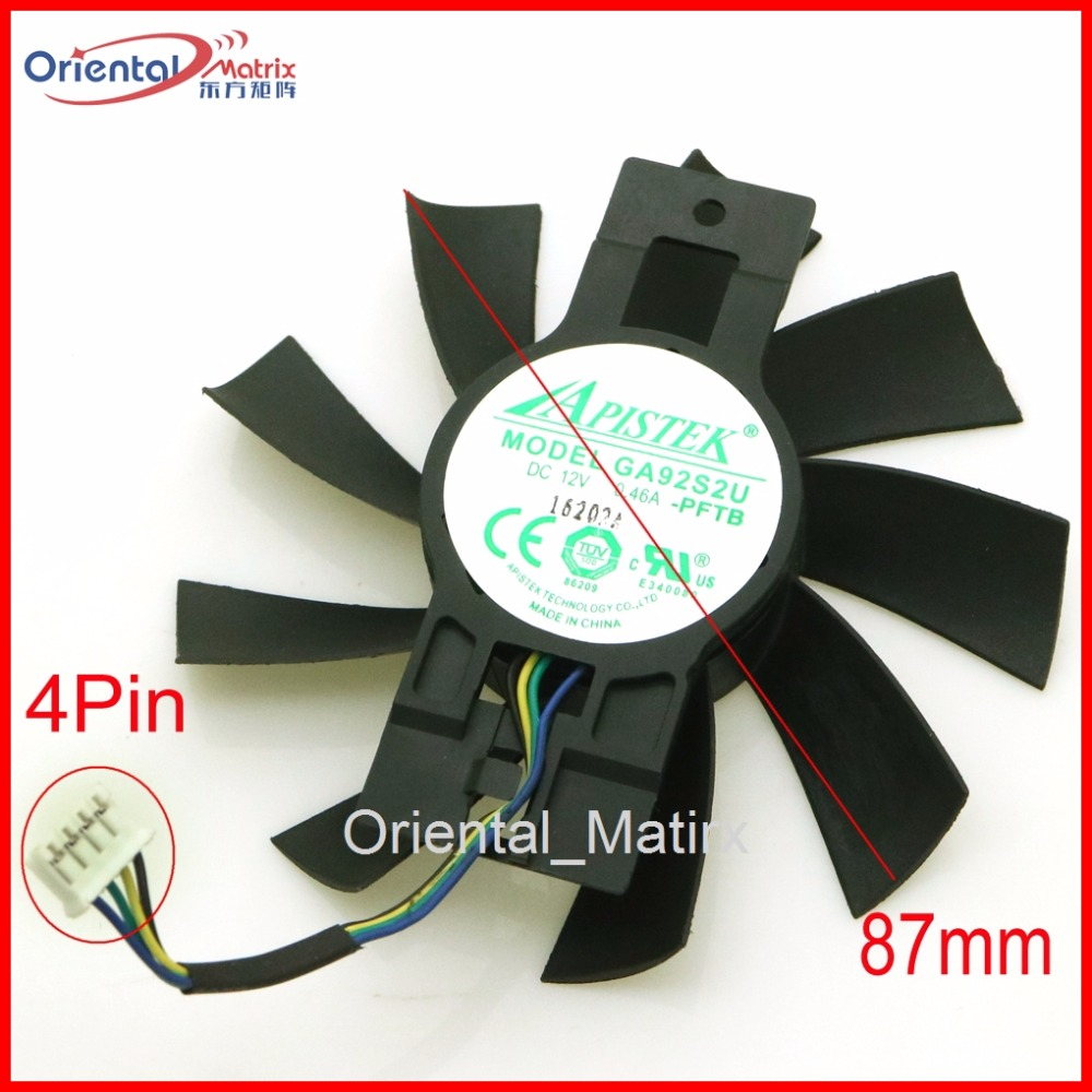 Free Shipping GA92B2U,GA92S2U - PFTB 12V 0.46A 4Pin 87mm VGA Fan For Dataland RX570 X-Serial Graphics Card Cooler Cooling Fan free delivery original afb1212she 12v 1 60a 12cm 12038 3 wire cooling fan r00