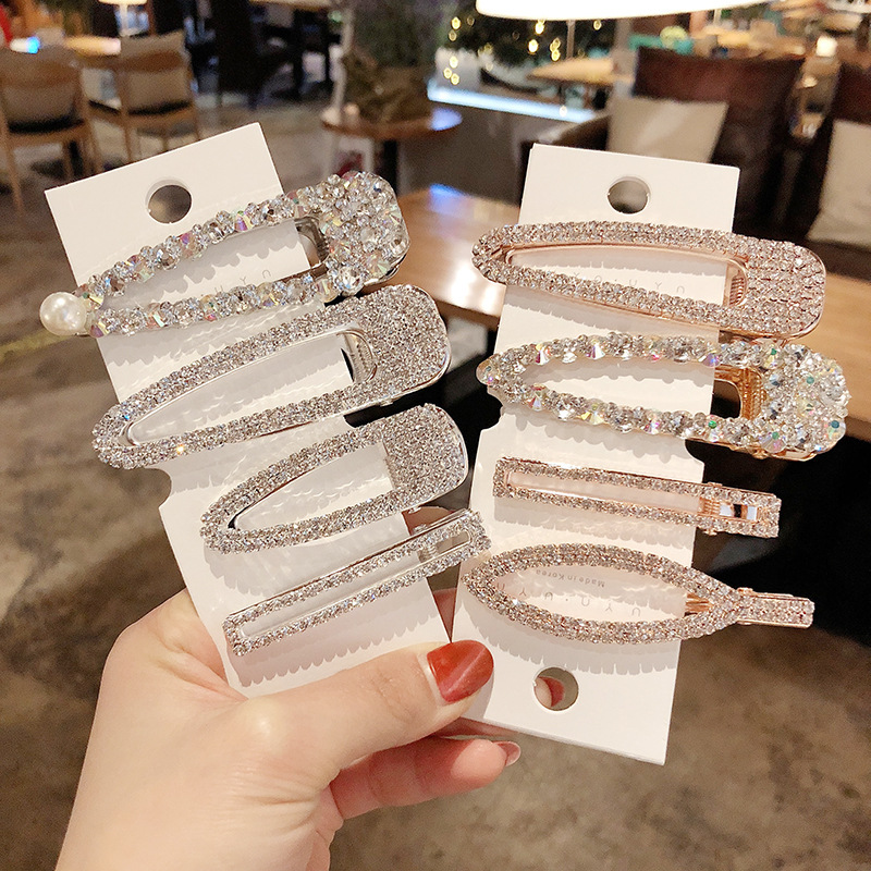 2019 New Fashion  Women Diamond Pearl Hair Clip Snap Hair Barrette Stick Hairpin Hair Styling Accessories For Women Girls
