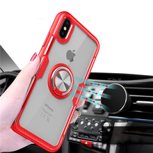 Luxury Ring Holder Phone Case For iPhone XS Max Magnetic Car Stand Ultra Thin Tempered Glass XR X 8 7 6 6S Plus