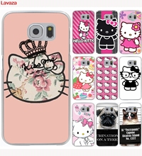 Lavaza Cute Hello kitty Hard Case Transparent for Galaxy S2 S3 S4 S5 & Mini S6 S7 S8 & Edge Plus