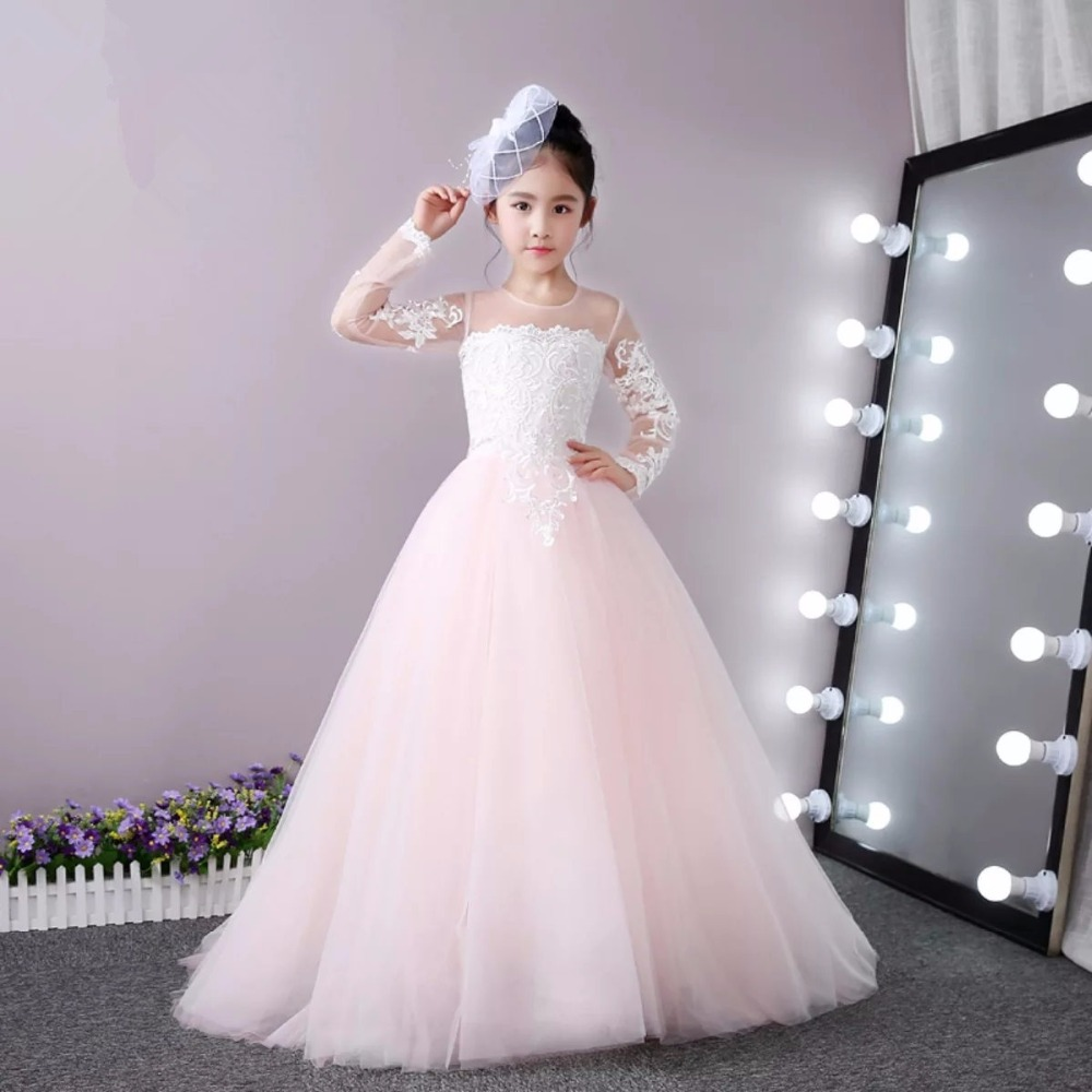 все цены на Lace Mother Daughter Dresses For Girls A-Line Flower Girl Dresses With Long Sleeve Kids Prom Dress Tulle Girls Wedding Dresses