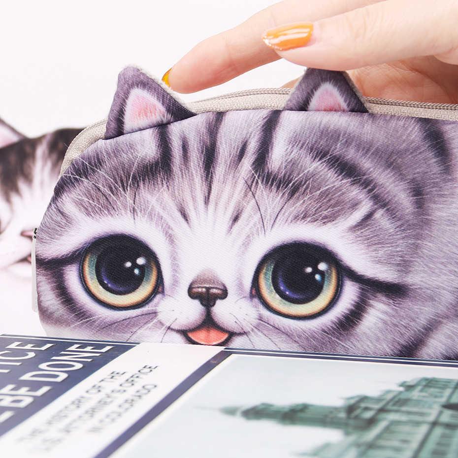 Monedero lindo de gato con cremallera pequeña y cartera para chica con lindo gato 3D Anime monedero para mujer con tarjetero