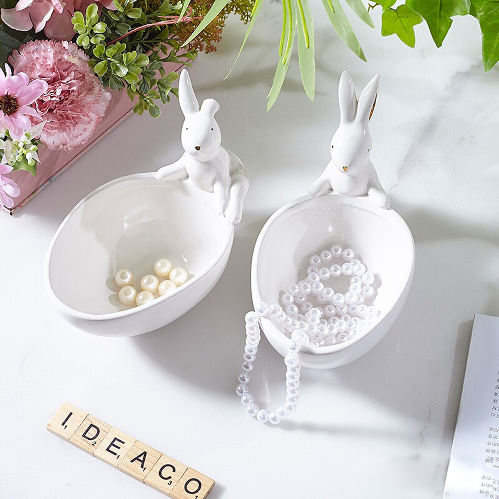 Nordic Style Ceramic Rabbit Tray Jewelry Plate Serving Snack Tray Bunny Hare Bowl For Woman Birthday Gift Easter Christmas Gift