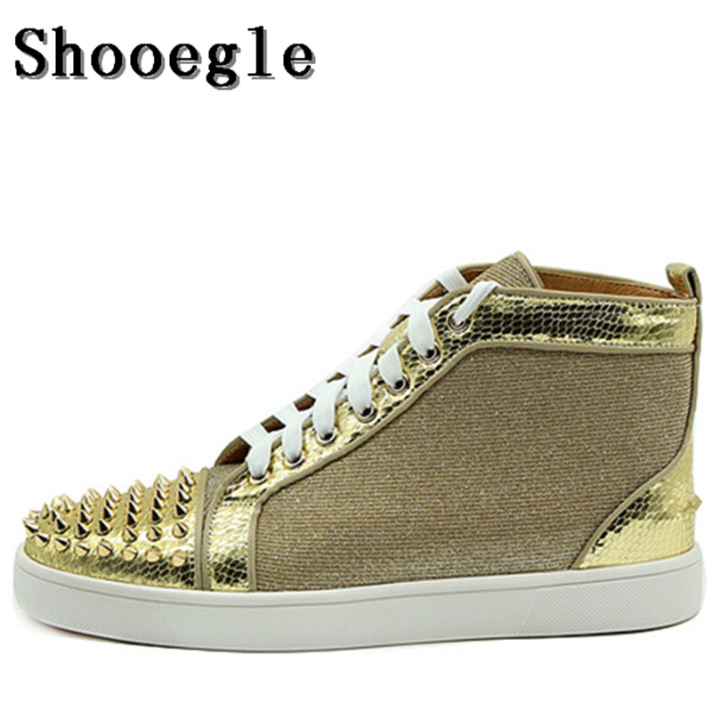 SHOOEGLE Men Gold Spike Rivet Lace up Sneaker Fashion Male Shoes High Top Flat Man Camping Casual Shoes Zapatillas Hombre qianruiti men mixed color spike shoes fish scale patchwork multicolor rhinestone sneaker lace up flat high top men camping shoes