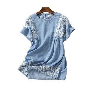 Tops de mujer, Camisa holgada informal de moda de verano 2020, blusa con bordado Floral para mujer, camisas de oficina para mujer, Camisa vaquera femenina