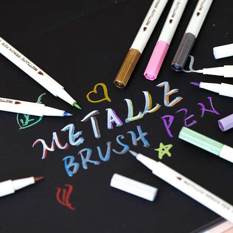 Sta 10 Farben Metallischen Marker Stift Diy Scrapbooking Handwerk Weichen Pinsel Stift Seni Pena Bulu Schreibwaren Schule Liefert