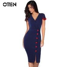 OTEN 2018 Summer Dress Women Party Sexy blue solid color Elegant Short sleeve V-Neck High Waist Bodycon Knee-Length dress