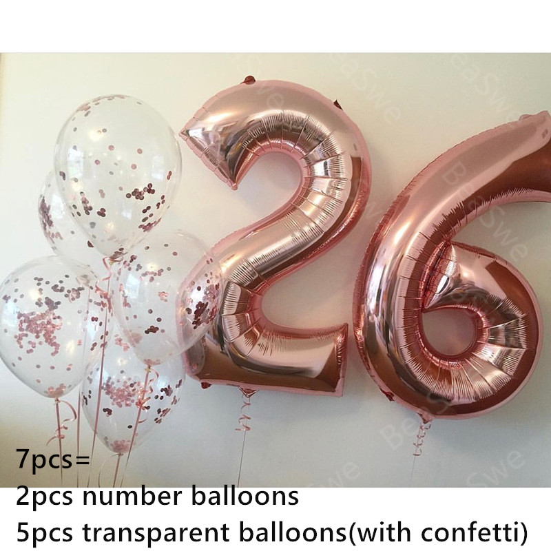 7pcs Lot Large Size 32inch Rose Gold Foil 26 Number Balloon With Confetti Adult Birthday Party Decor Anniversary Helium Supplies In Ballons Accessories