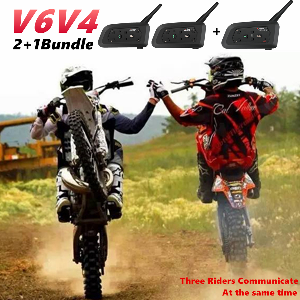 Intercom Bundle 2PCS V6 1PC V4 Helmet Headset Noise Reduction Team Intercommunicador Between 3 Rider Sport Refrees MP3 GPS