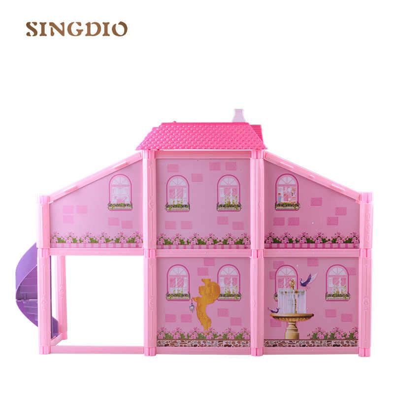 חדש diy ורוד התאסף יוקרה וילה סימולציה בובות צעצוע מיניאטורות אביזרי סלון ריהוט סט חמוד בית