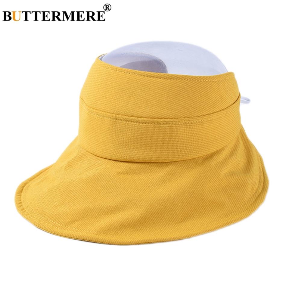 BUTTERMERE Summer Hats For Women Cotton Striped Visor Sun Cap Female Wide Brim Yellow Folding Ladies Adjustable Boater Hat