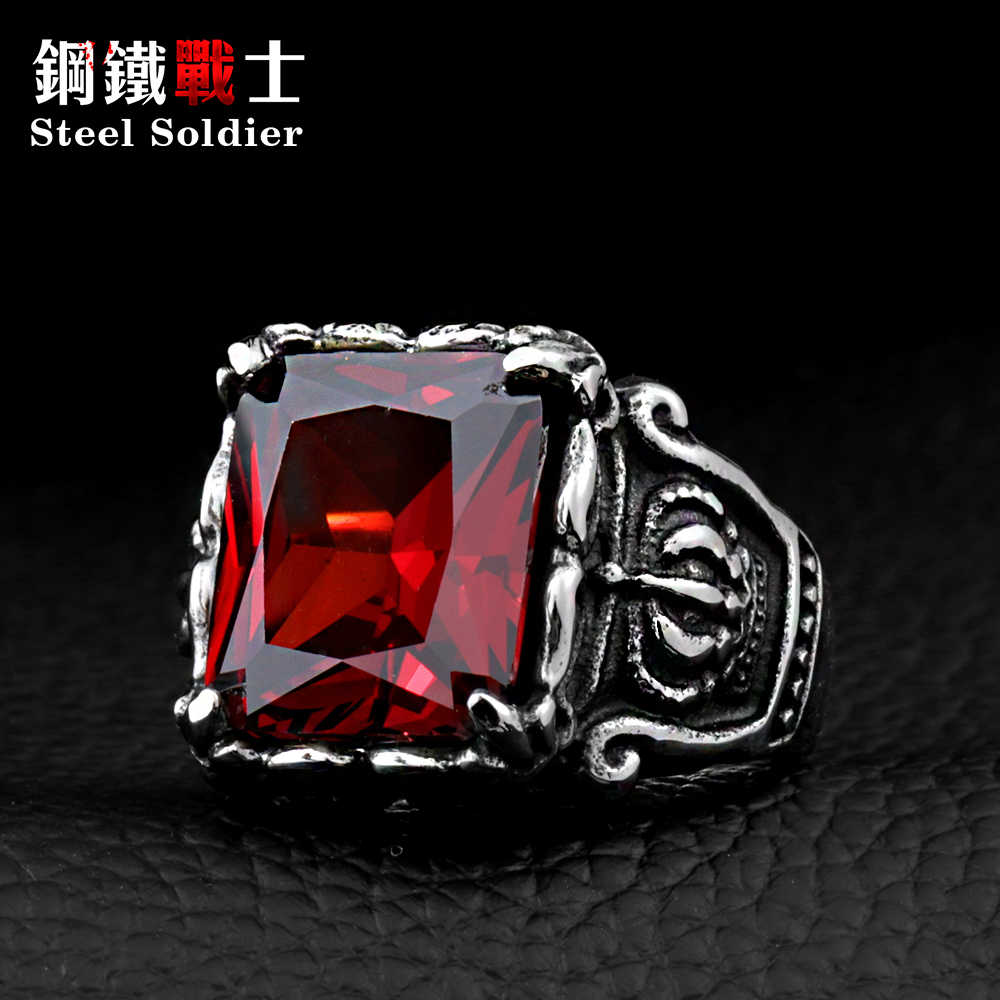 Steel soldier Men's CZ Gothic Crown Rings Vintage Stytle 316L STAINLESS Steel High Quality Men's Ring With Stone