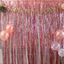 1 メートル 2 メートルローズゴールド金属箔見掛け倒しフリンジカーテンドア雨結婚式の装飾誕生日パーティーの背景の背景写真小道具