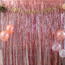 1M 2M Rose Gold Metallic Foil Tinsel Fringe Curtain Door Rain Wedding Decoration Birthday Party Backdrop Background Photo Props