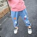 Девушки джинсы штаны Осень 2016 детская одежда джинсы синие брюки повседневные брюки Детские Брюки