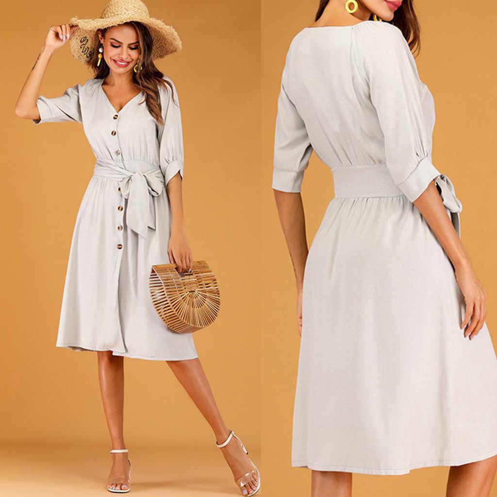 2019 femmes été Boho col en V demi manches bouton Bandage décontracté robe de plage Vestido estampado dama Wd4