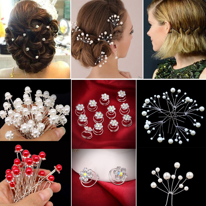 Women Hair Accessories Pearls Beads Hairpins Ponytail Holder Girls Flower Bridal Wedding Hair Clips Barrettes Hair Ornament